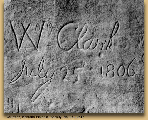 William Clark's name carved in stone