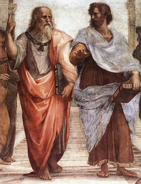 Plato and Aristotle walking and talking together