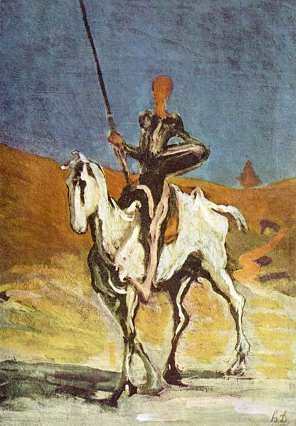Image of Don Quixote with Sancho in the background