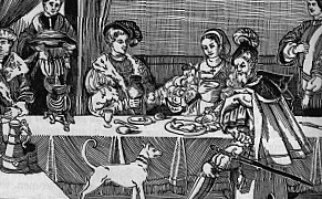 People eating an elizabethan dinner