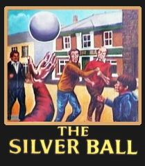 Pub Sign with a group of boys playing Cornish Hurling
