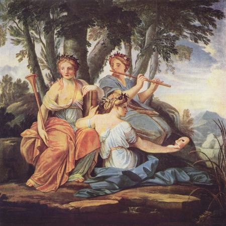 Three women seated together associated with history, music, and comedy and idyllic poetry, three of the Greek muses