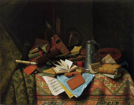 Painting of a table filled with books, papers, a tankard, a telescope, and numerous other objects