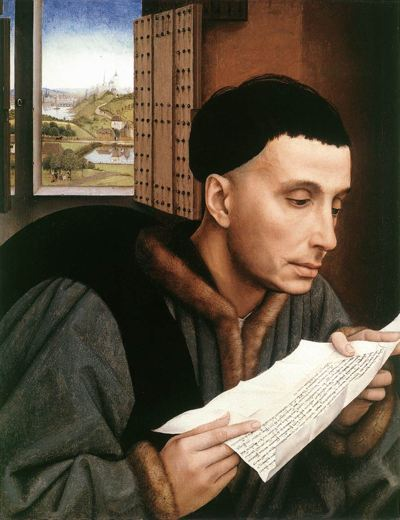 Painting of a man reading a letter with an open window behind him that looks out over countryside