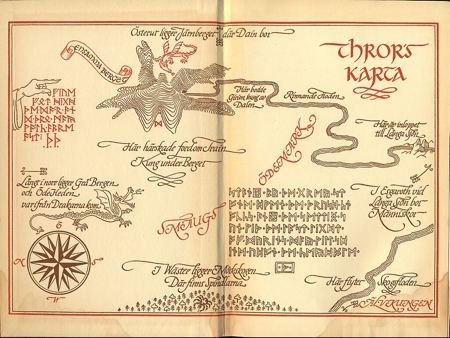 Map of Tolkien's Middle Earth with runes and a Swedish text