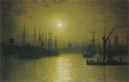 Ships anchored in port at night with London's St. Paul's Cathedral silouetted in the backhground