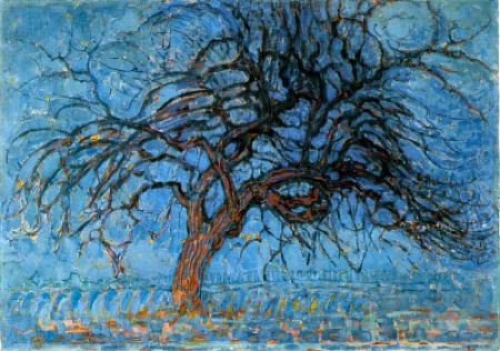 Painting of a tree with a reddish-brown trunk against a blue sky