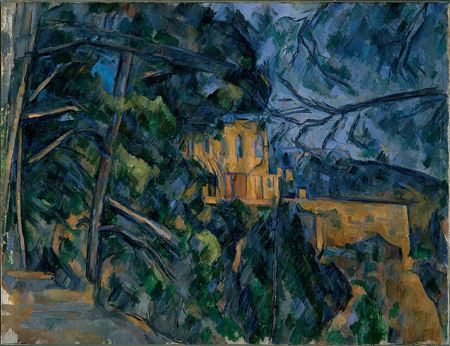 Painitng of a house viewed through trees at night