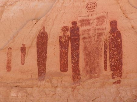 Cave painting of a group of people standing about