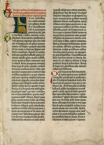 Photograph of a page from the Guttenberg Bible