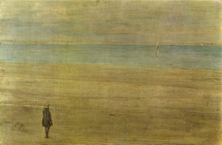 Painting of a man standing on a sandy beach looking out over the water