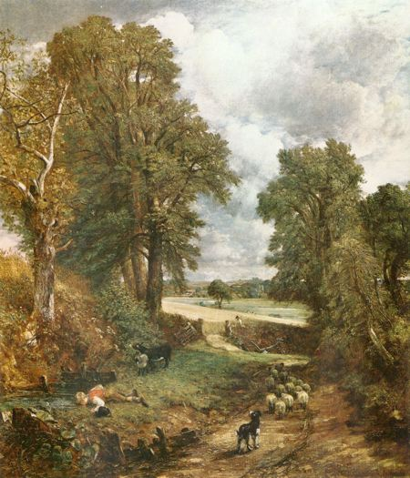 Painting of a tree lined country lane opening out onto an open field