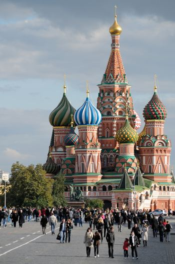 "Photograph of the colorful ""mushroom"" dooms of the Orthodox Cathedrals in Russia's Red Square"