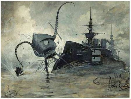 Illustration of a Martian war machine attacking a British war ship