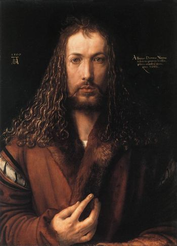 Painitng of a bearded man with long hair in a fur lined robe