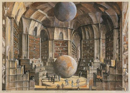 "Illustration depicting a very large library for Borges' short story ""The Library of Babel"