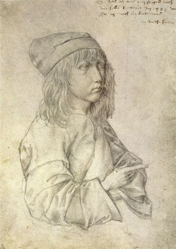 Pen and ink drawing of teenage boy with long hair
