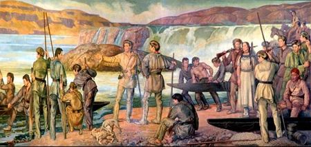 Mural od a group of men with boats by a river with a waterfall in the background