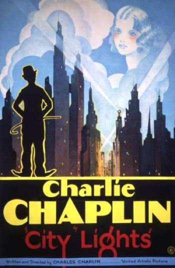 Movie poster featuring a sillouetted Charlie Chaplin looking at city-scape lit up at night with the image of woman looking down from the clours