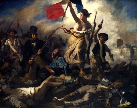 Woman carrying the flag of France leading rebel soldiers