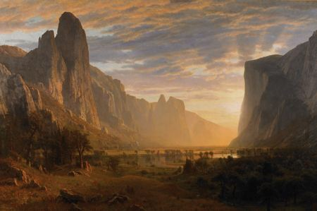 Painting of a valley surrounded by mountains at sunrise