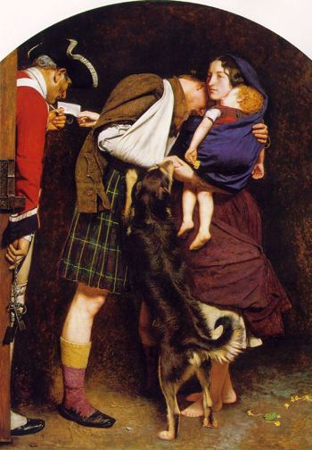 A man in a Scottish kilt is released to his wife and child and family dog as a red coated soldier looks on