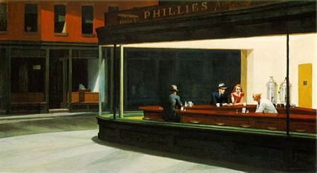 Painting of diner on a dark night with the lights on in the diner and three people sitting at the counter with a working behind the counter
