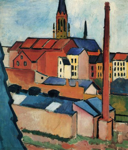 Paintinf of a town with buildings and a church steeple
