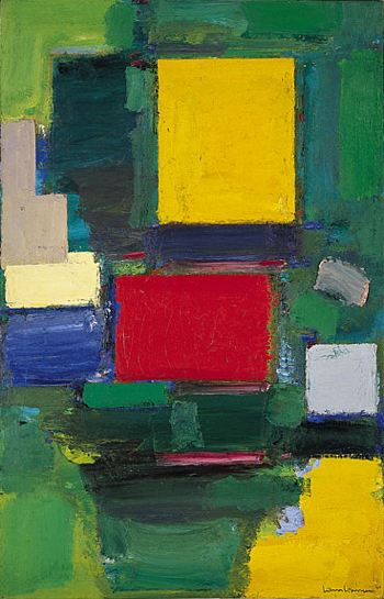 A painting of different colored squares on a field of various shades of green and yellow