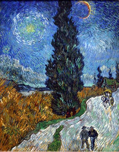 Impressionist painting of a road with two people walking with stars and a cypress tree