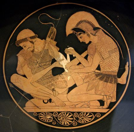 Greek vase with an image of one man treating the wound of another man