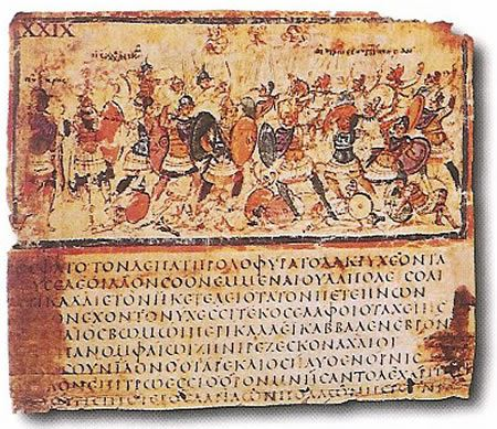 "Photograph of a parcment page from ""The Illiad"" with Greek writing and an image of two armies fighting"