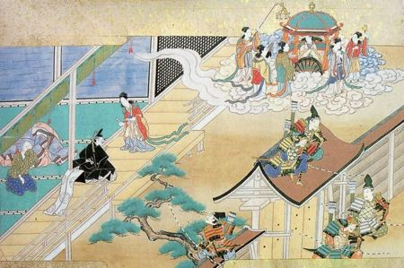 Japanese woodblock of a group of people watching a flyihng coach prepare to take off for the moon