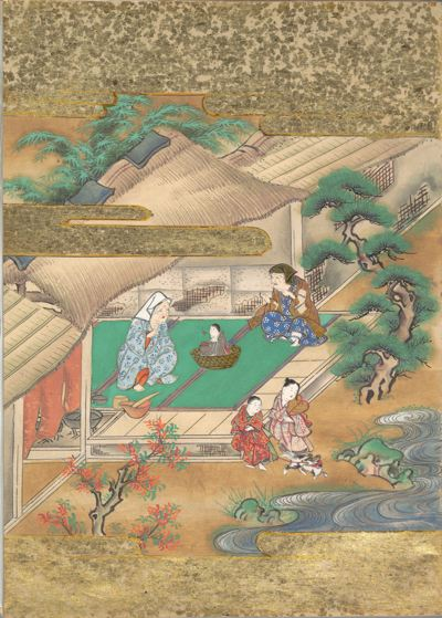 Japanese woodblock of two women looking over a child inside the house while two others talk outside the house