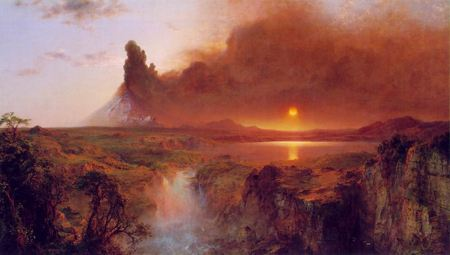 Sun setting behind vocanic cloud over a river