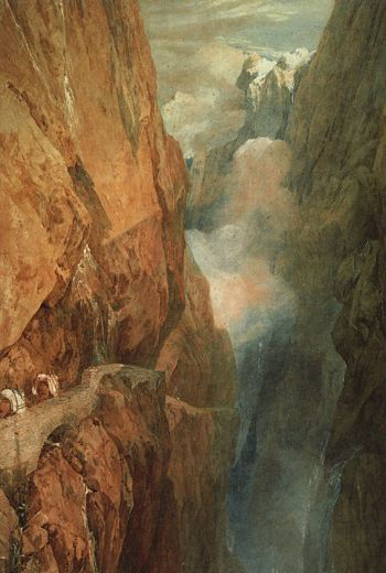 Painting of people following a narrow path over a steep mountain