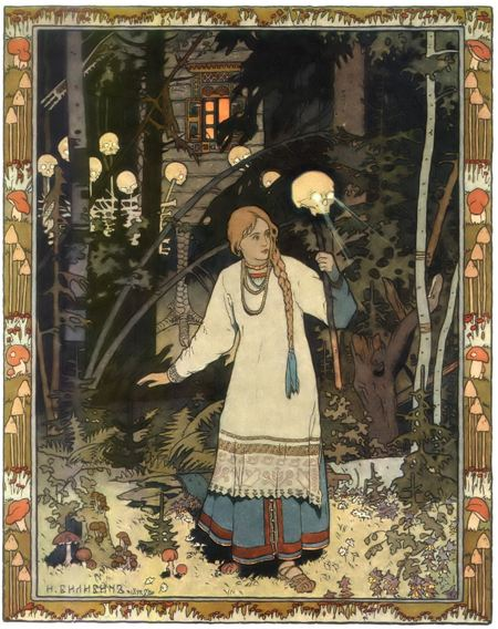 Woman in a dark forest holding a stick with a skull on it and lights shining through the skull's eyes and ligts behind her also coming fron the eyes of skulls