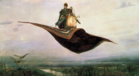 Paintng of a man on a flying carpet