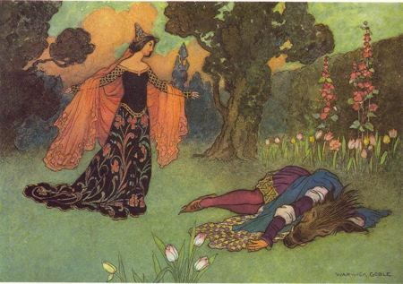 Painting of a young woman looking over the dead body of a beast
