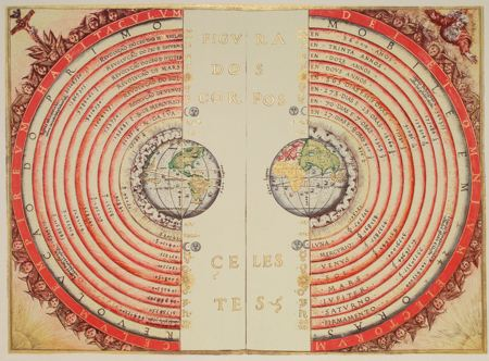 Map of the western and eastern hemispheres of the earth in a planatery map, with the earth at the center of the solar system