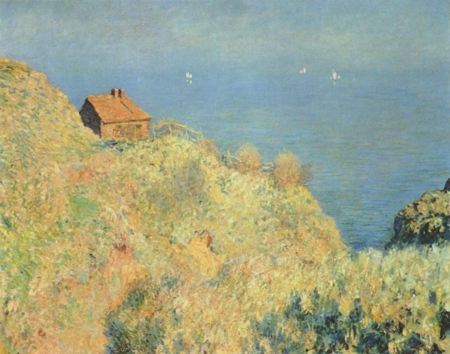 Painting of a house on a bluff overlooking the ocean