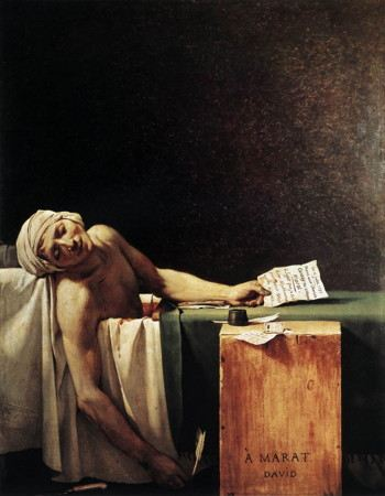 Painting of a man lying dead, perhaps in his bath, with pen, ink and parchment paper on which he was writing before him