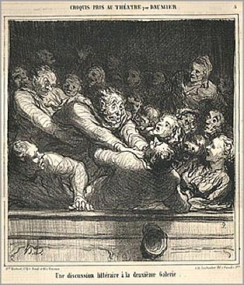 A print of a fight breaking out in the balcony of a theater with one man choking another man