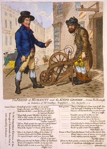 Illustration of a well dressed prosperous man talking to a poor working man