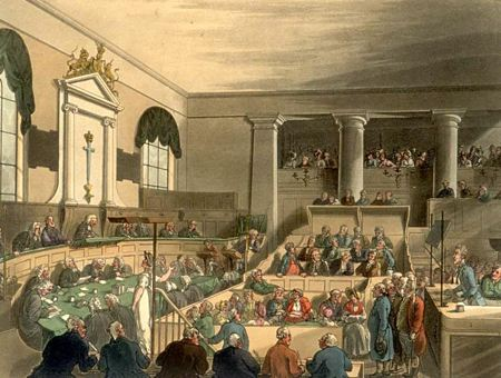 Painting of a filled courtroom