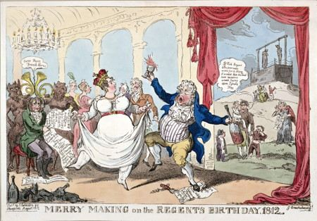 Illustration of wealthy people making merry, dancing and drinking