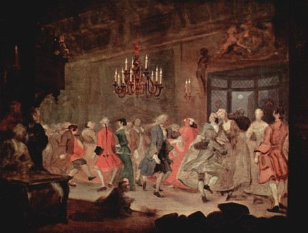 Painting of people dancing at a 18th century wedding reception