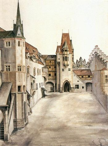 Painting of a castle courtyard