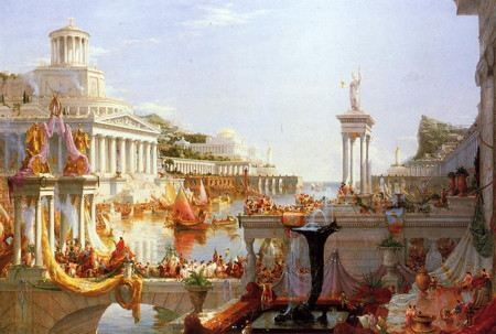 Painting of populace and thriving classical city