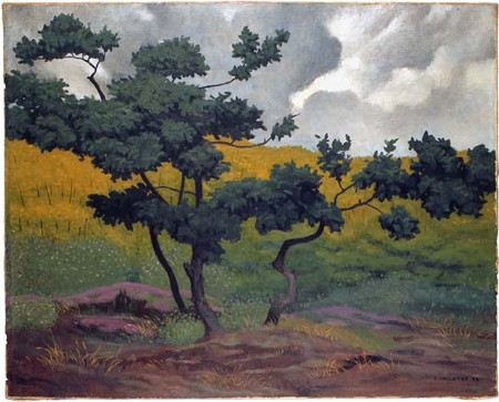 Painting of a tree growing in a meadow